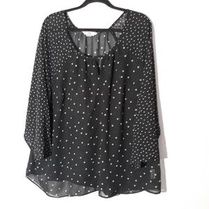 Old navy sheer 3 quarter sleeve blouse in black